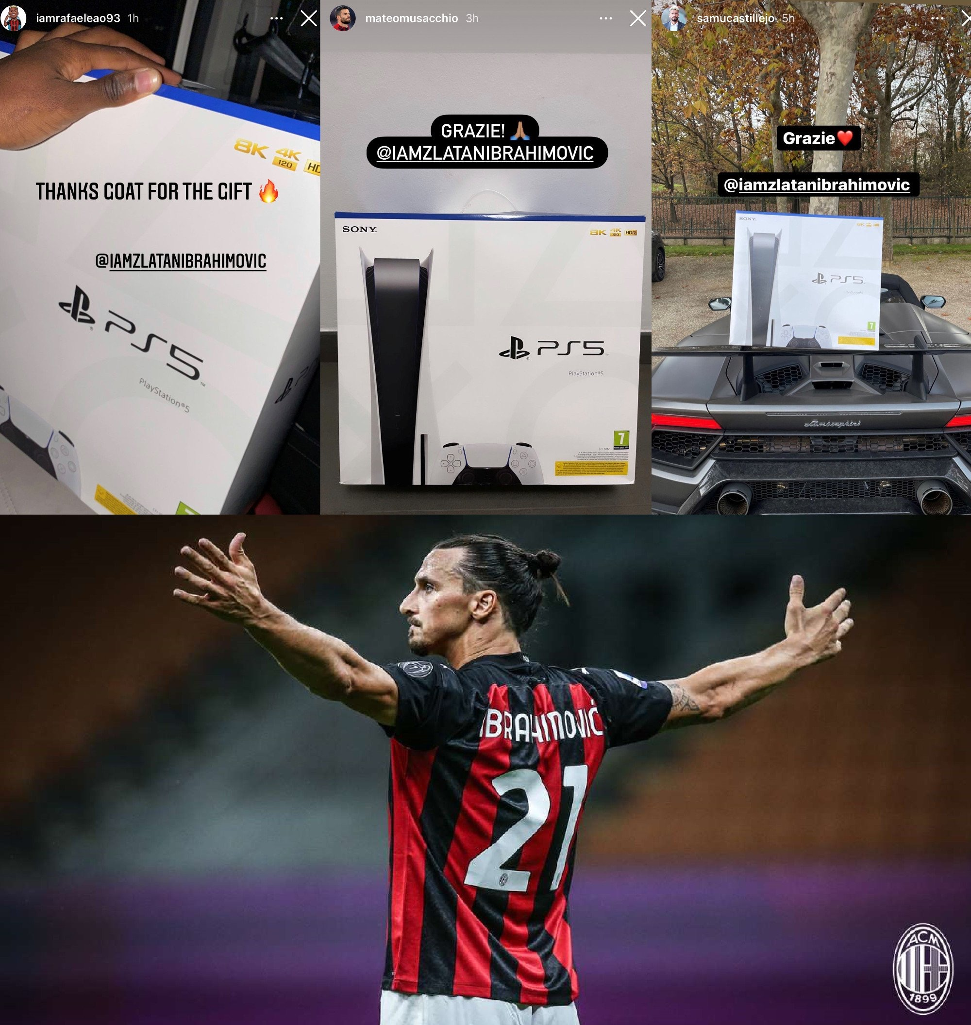 Zlatan goes full Santa mode with PlayStation 5 gifts for AC Milan team-mates